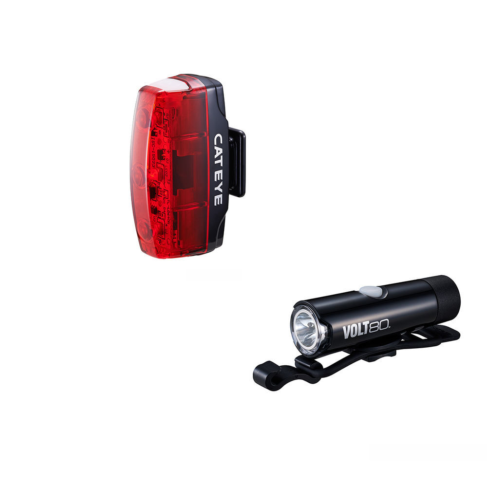 CATEYE Cateye Volt 80 Front Light & Rapid Micro Rear Light Usb Rechargeable Light Set click to zoom image
