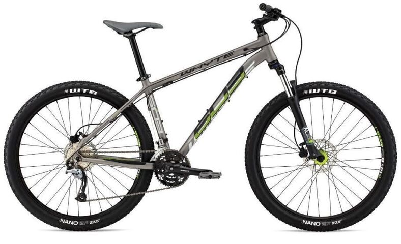 "WHYTE 603 27.5"" Front Suspension Mountain Bike S Matt Zinc with Black/Apple  click to zoom image"