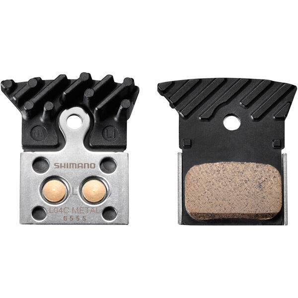 SHIMANO L04C disc brake pads, alloy backed with cooling fins, metal sintered click to zoom image