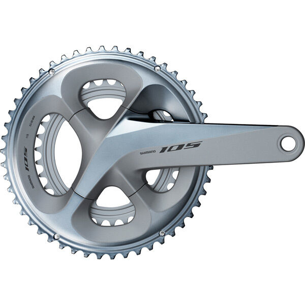SHIMANO FC-R7000 105 double chainset, HollowTech II 170 mm 53 / 39T, silver click to zoom image