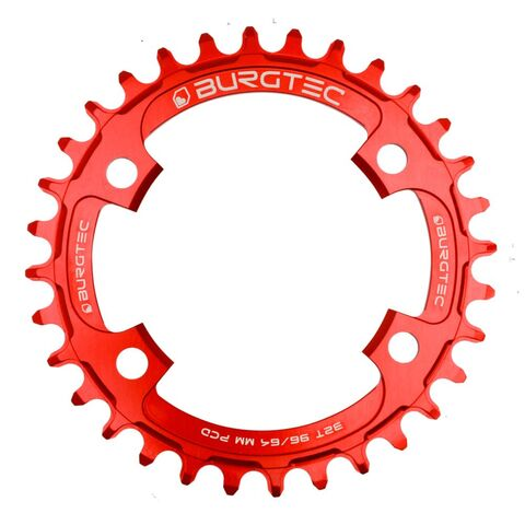 BURGTEC 96/64mm PCD Thick Thin Chainring 30T Race Red  click to zoom image