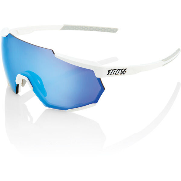 100% Racetrap - Matt White - HiPER Blue Multilayer Mirror Lens click to zoom image